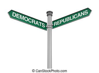 Democrats Republicans Street Sign