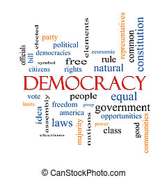 democrazia, parola, nuvola, concetto