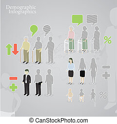 Demographic infographics. People icons including man, woman,...