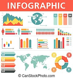 Demographic infographics set