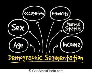 Demographic segmentation mind map flowchart social concept...