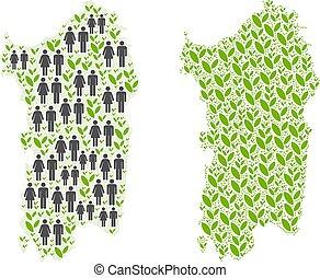 Demographics and Nature Italian Sardinia Island Map - People...