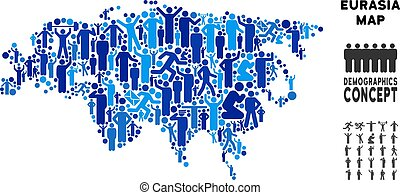 Demographics Eurasia Map - Vector population Eurasia map....