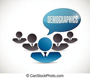 demographics people sign illustration design over a white...