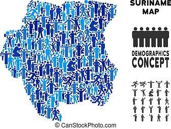 Demographics Suriname Map - Vector population Suriname map....
