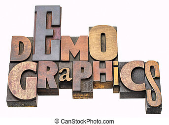 demographics word abstract in wood type