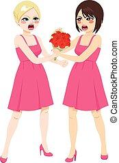 demoiselle honneur, bouquet, combat