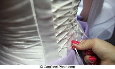 demoiselle honneur, mariée, dentelle, corset
