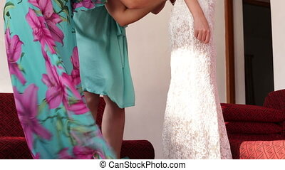 demoiselle honneur, mariage, dentelle, mariée, robe