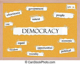 demokrácia, corkboard, szó, fogalom