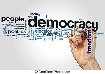 demokrácia, szó, felhő