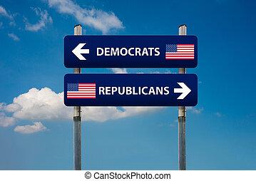 demokrat, a, republikánský, pojem, do, americký, volba