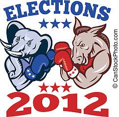 demokrata, szamár, köztársasági érzelmű, elefánt, kabala