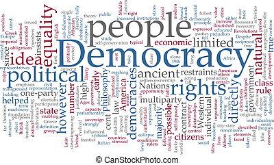 demokratie, wort, wolke