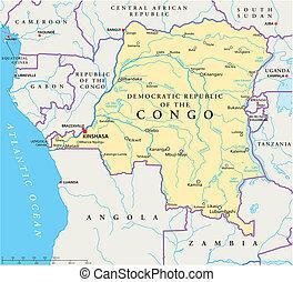 demokratikus, térkép, kongó, politikai, köztársaság