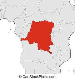 demokratisch, landkarte, kongo, -, republik
