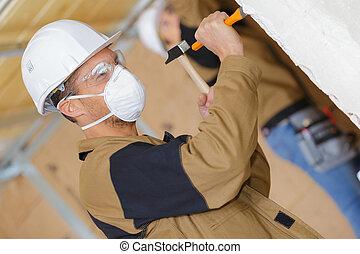 demoler, trabajador construcción, cincel, martillo, viejo, ...