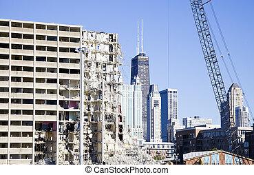 demolición, de, proyecto, edificio