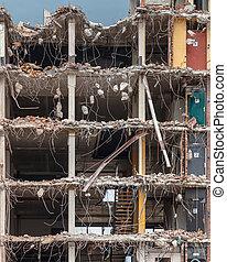 demolición, de, un, alta subida, bulding