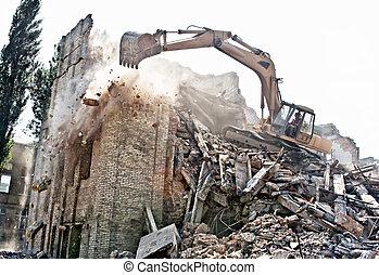 demolición, edificio, viejo