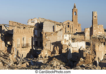 demolished, belchite, 村