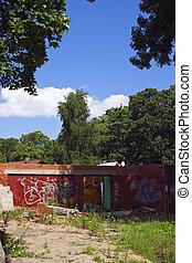 Demolished building on sunny day