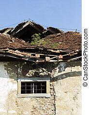 Demolished old roof