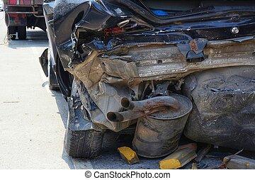 Demolished Rear Part of Dark Car
