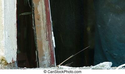 Demolishing Old Window Frame