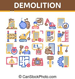 Demolition Building Collection Icons Set Vector