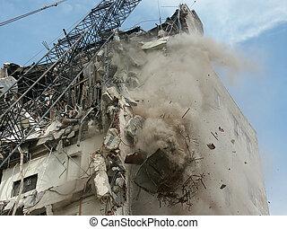 demolition - close up of a building being demolished