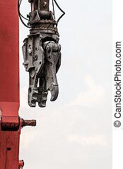 Demolition crane on construction site. - Demolition crane, ...