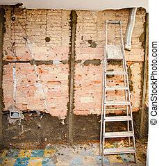 demolition debris in kitchen interior construction and...