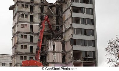 demolition - demolition of buildings time lapse, general...