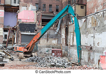 Demolition Equipment Knocking Down Building Collecting Scrap...