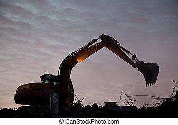 Demolition  - Excavator demolishing building
