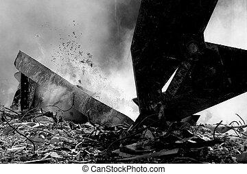 Demolition machine - Demolition of the old historical ...