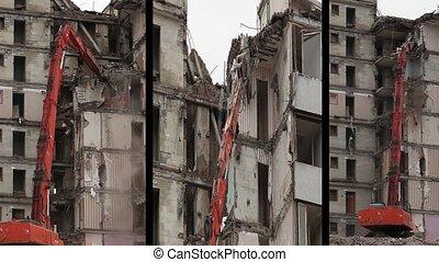 demolition machine - Timelapse demolition machine, montage...