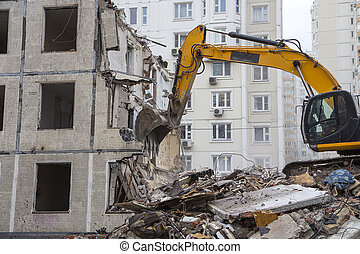 Demolition of an old house. Moscow, Russia