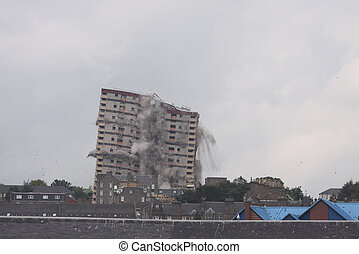 Demolition of block of flats - Demolition of Carnegie tower...