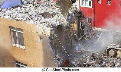 Demolition of building, concrete