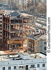 demolition of old house on urban street