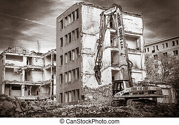 Demolition of the old building - BRATISLAVA, SLOVAKIA-...