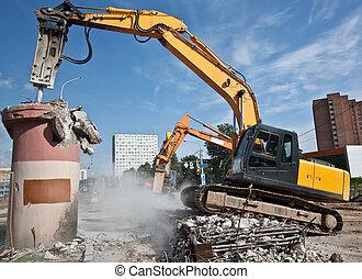 Demolition Site - Hydraulic Crushing Hammer demolishing...