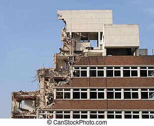 Demolition Site - Image of a building in the process of...