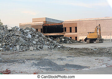 Demolition Site - Work site of a building demolition.