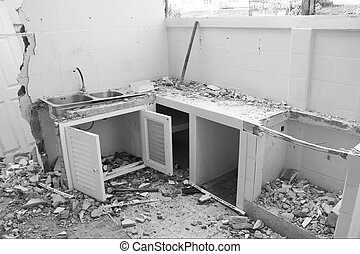 demolition - White and black, demolition the kitchen on job