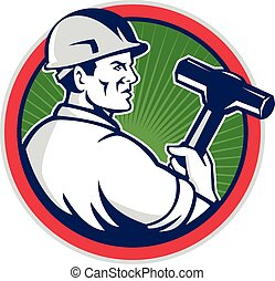 Demolition Worker Sledgehammer Circle Retro - Illustration ...