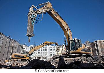 demolizione, martello, idraulico