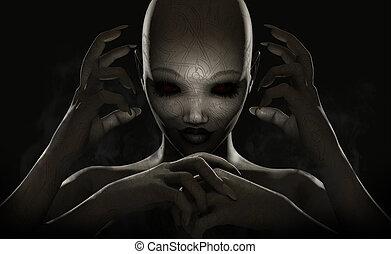 3d render of demon character